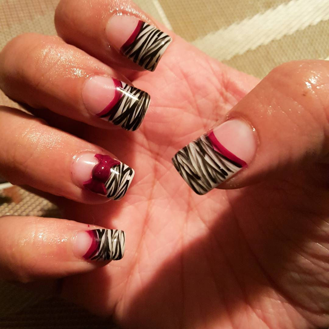 Night Zebra Nail Design