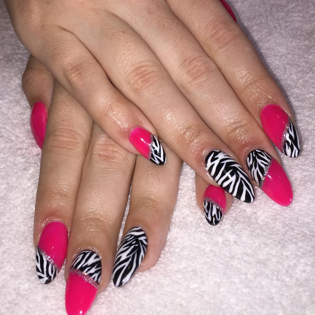 Soft Zebra Nail Design