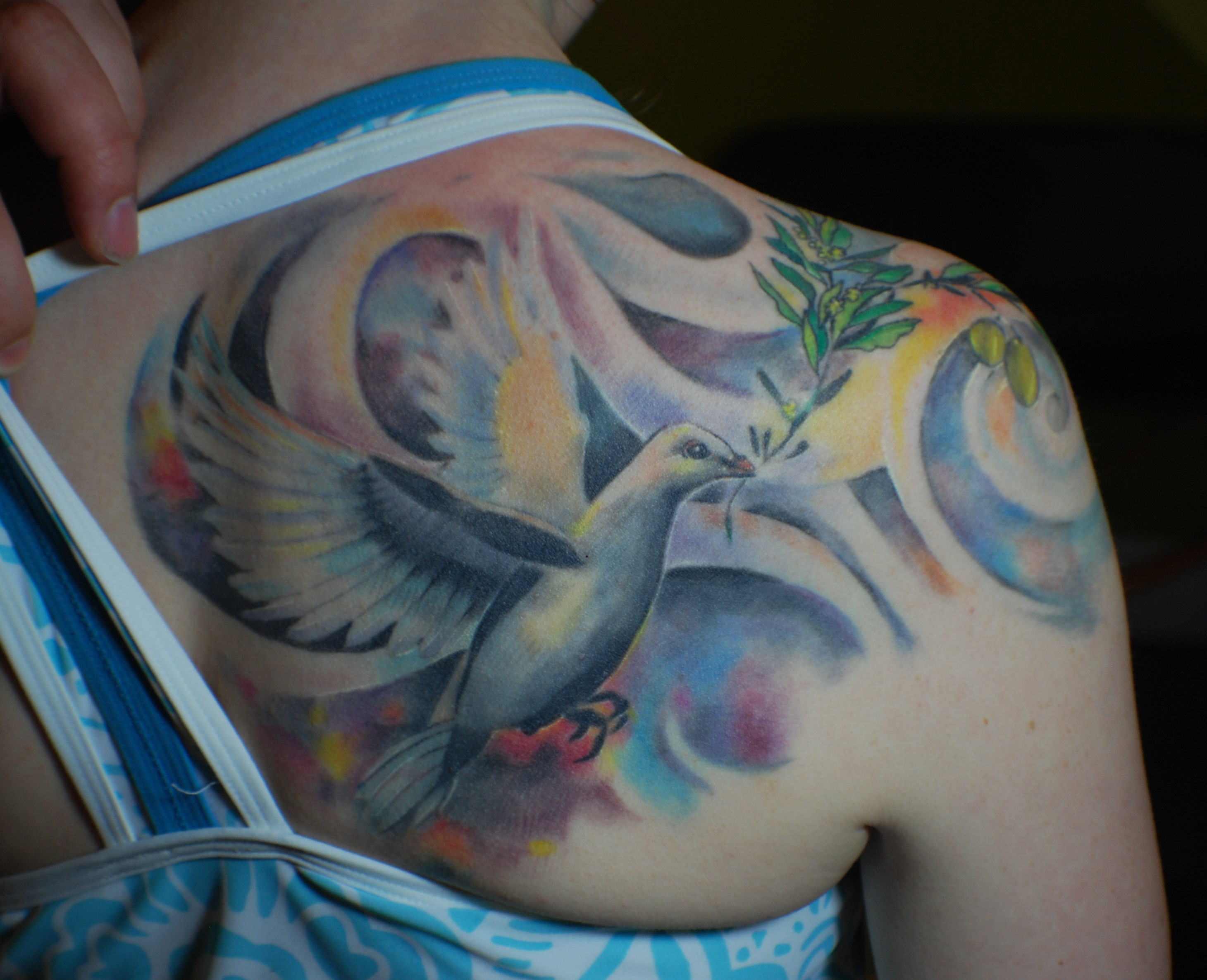 Colorful Dove and Olive Branch Tattoo