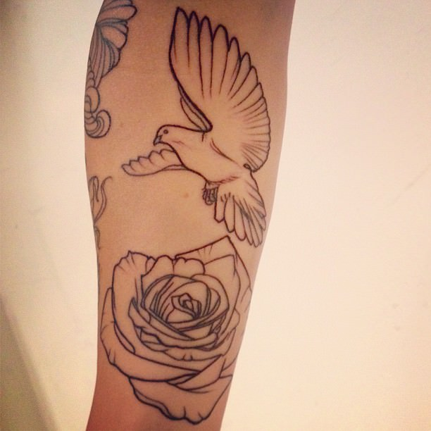 Dove and Rose Outline Tattoo