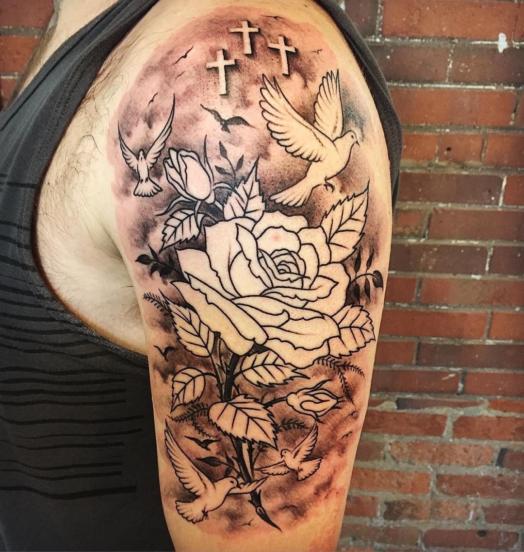 Dove and Rose Tattoo on Arms