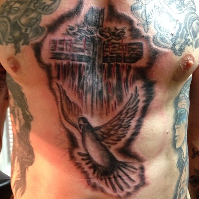 Dove with Cross Tattoo on Chest