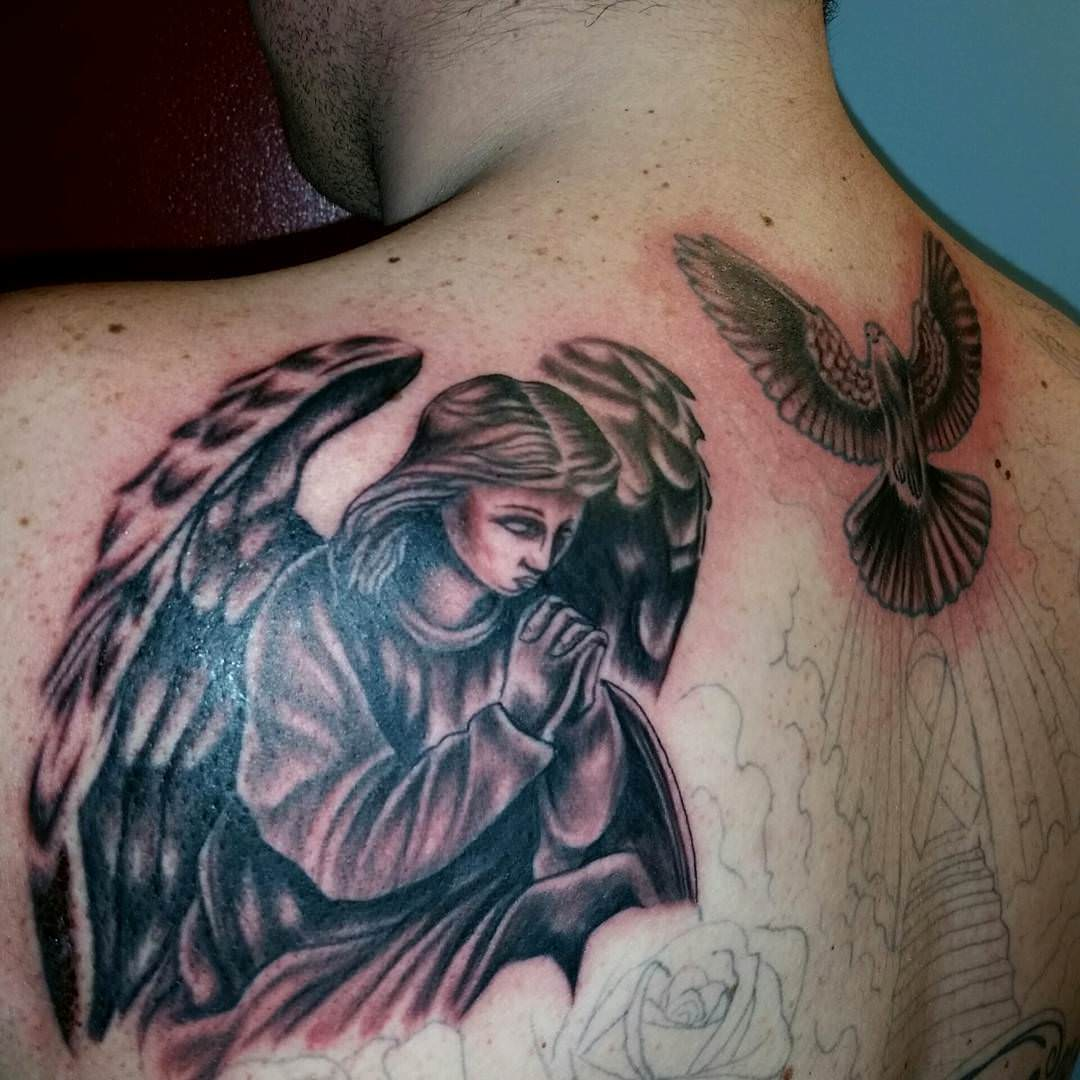 Flying Dove Tattoo on Back