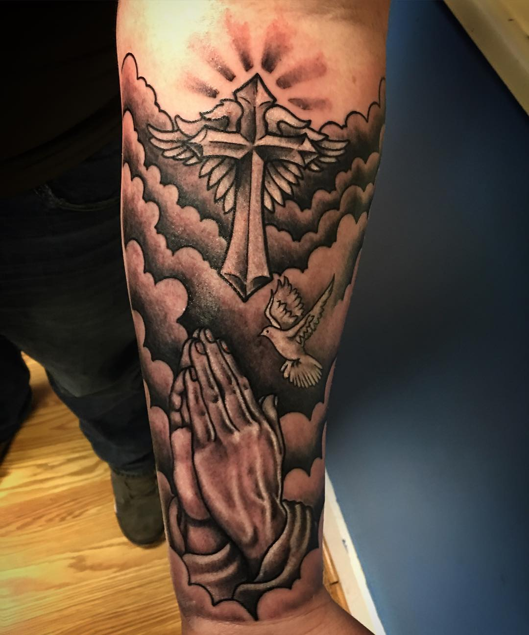 Praying Hands with Dove Tattoo