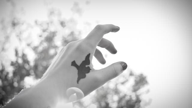 Small Dove Tattoo on Wrist