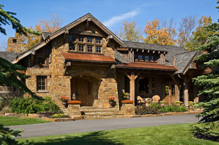 Front Rustic Residence Exterior Design