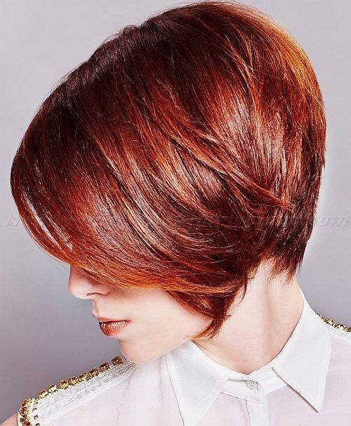 short bob hairstyles in light red