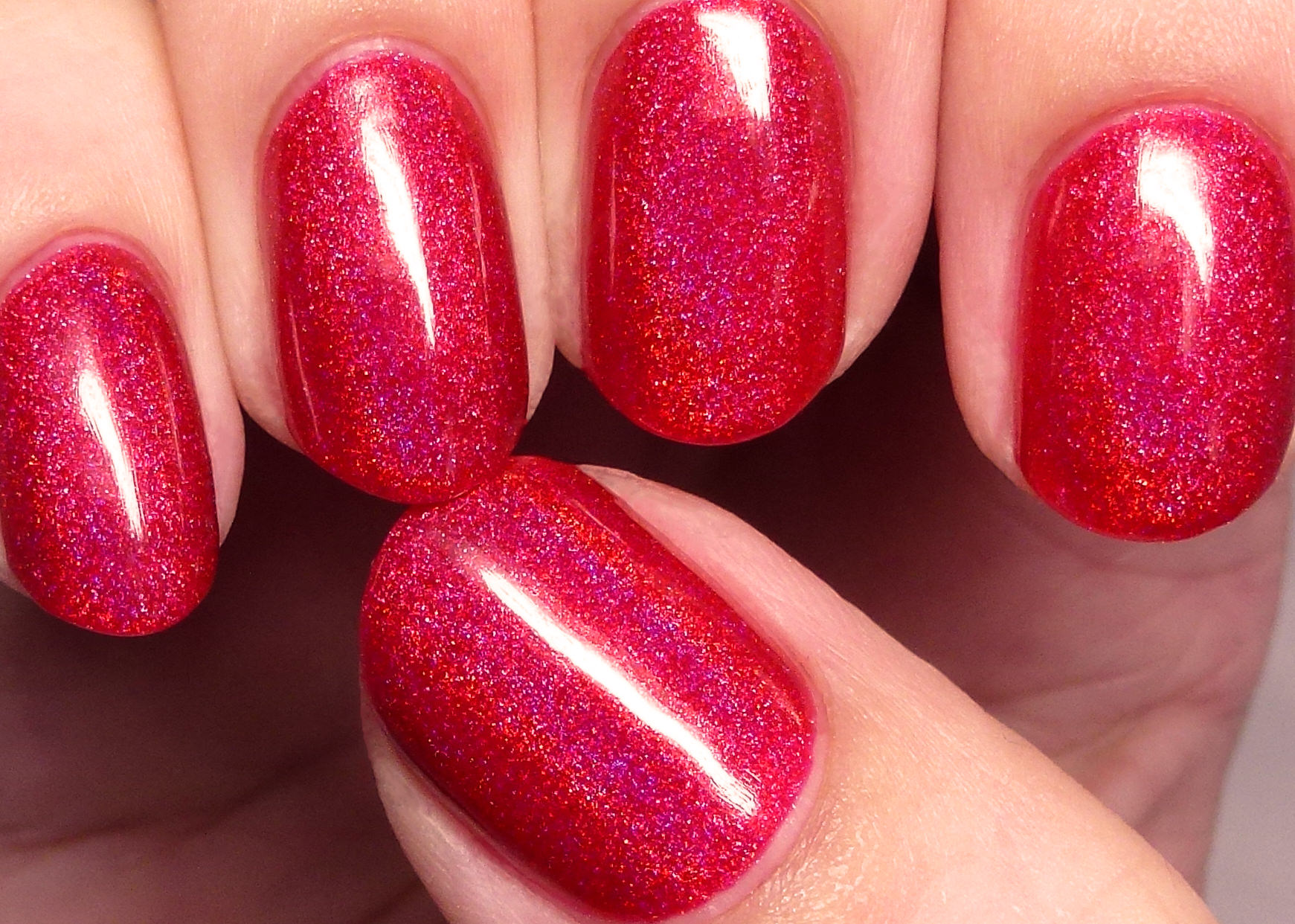 Dark Red Glitter Fall Nail Design