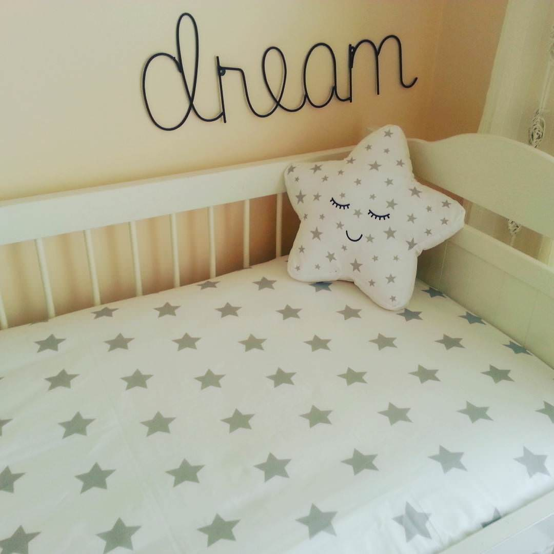 White Nursery Bed Design, star bed .