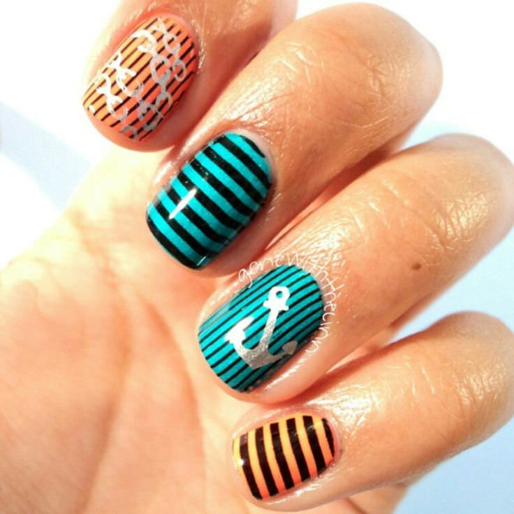 Artistic Short Summer Nail Design