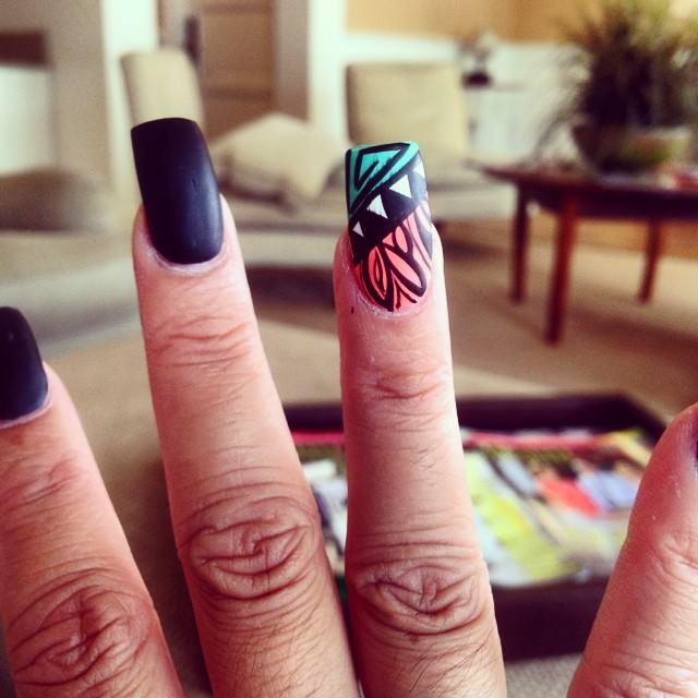 Elegant Black Summer Nail Design