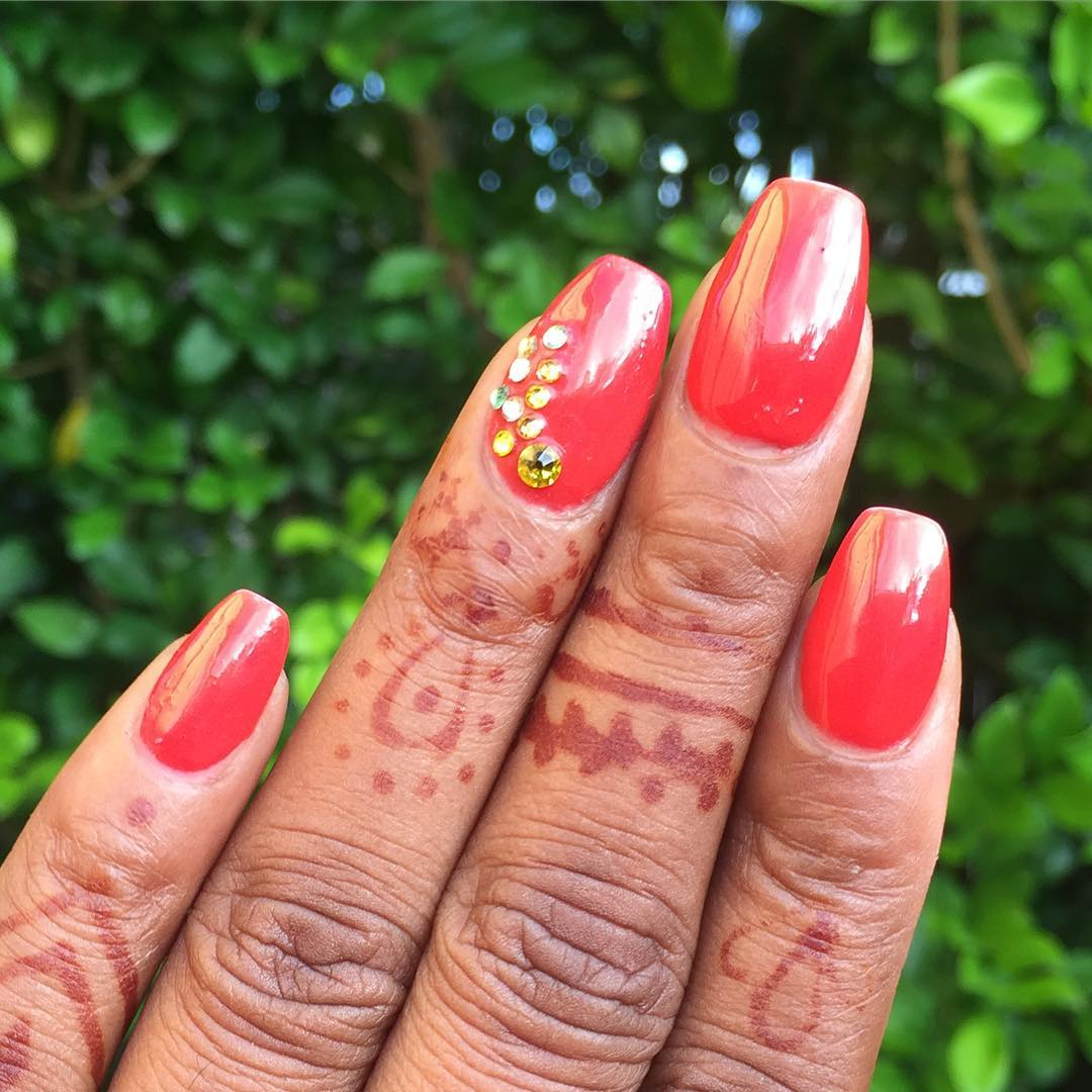 Red Summer Acrylic Nails Design