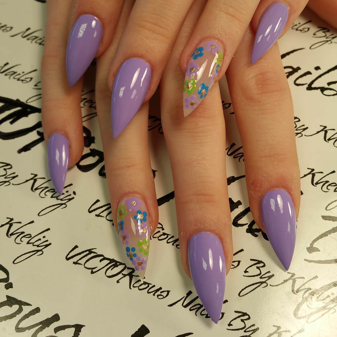 Sharp Long Summer Nails Design