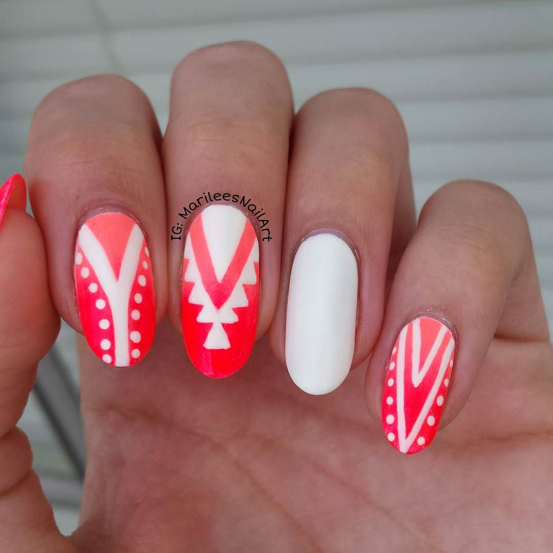 Tribal Summer Finger Nail Design