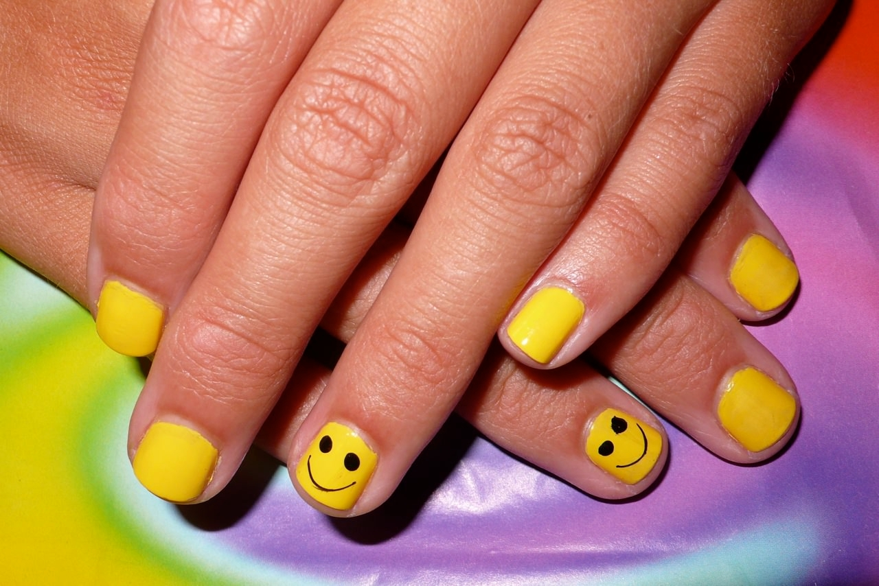 Yellow Short Nail Design