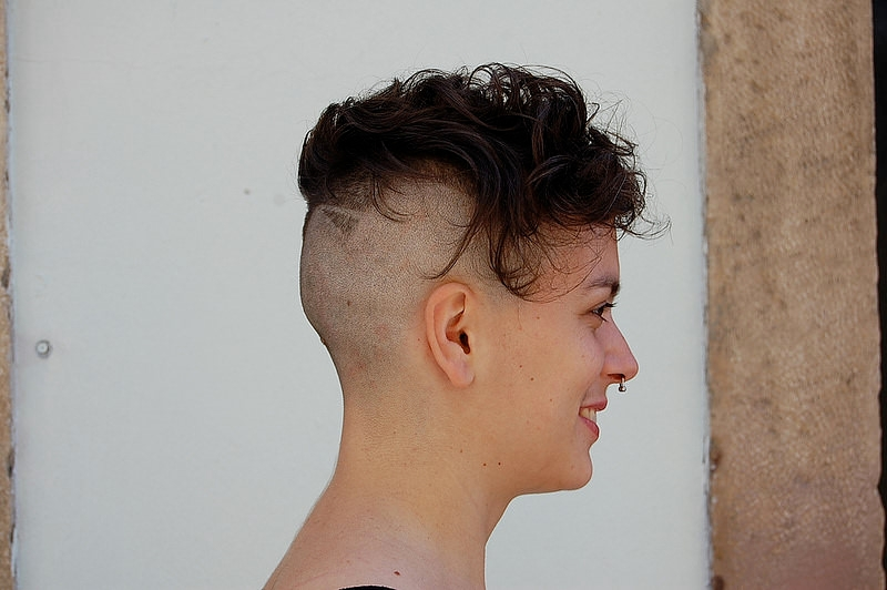 short hair design in shaved