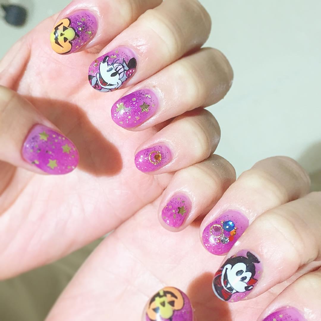 Pink Stars Disney Nail Design