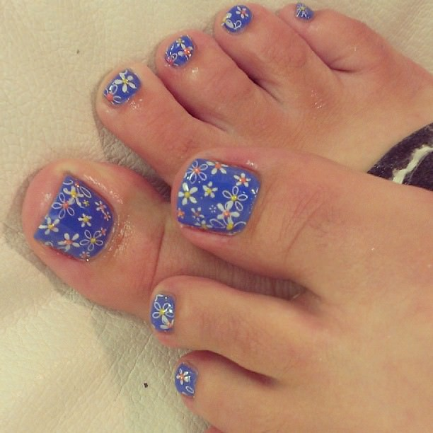Blue Flower Toe Nail Design