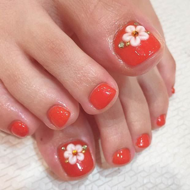 Pure Red Flower Toe Nail Design