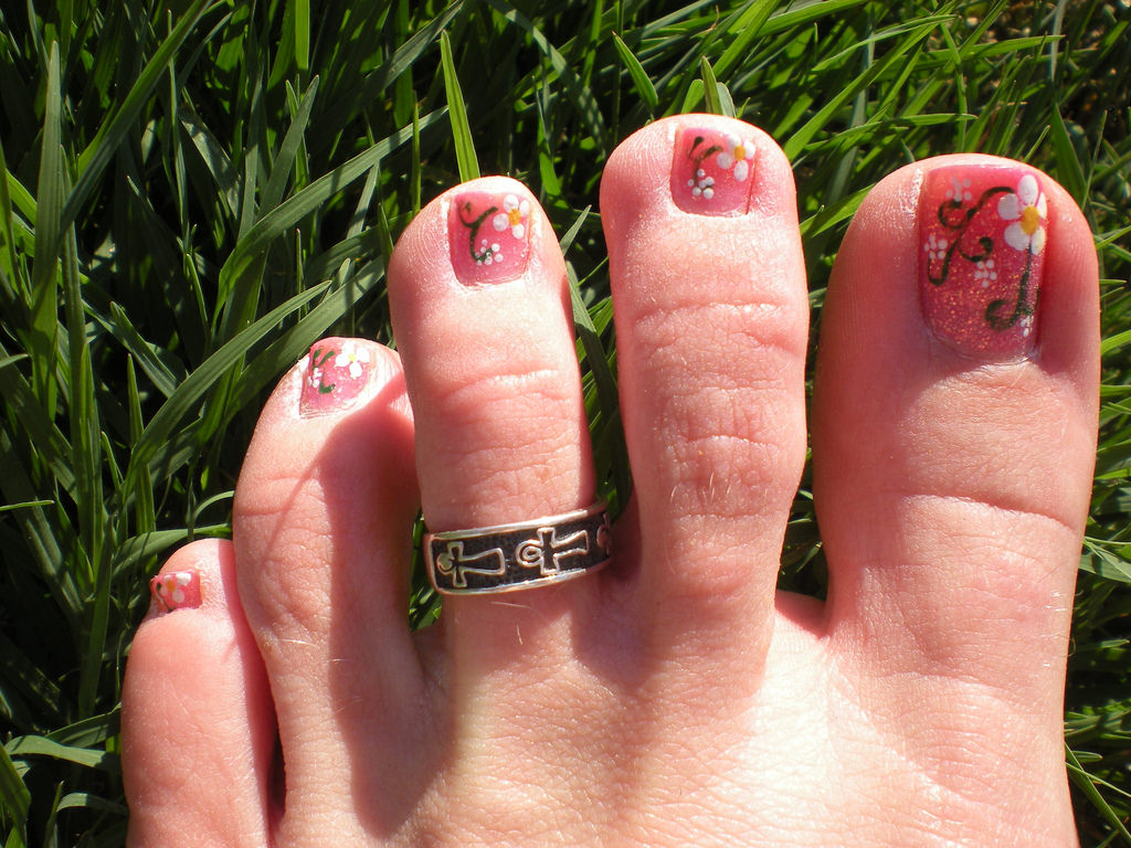 Spring Flower Toe Nail Design