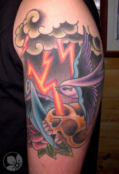 Lightning Tattoo Design On Hand Skull Swallow Clouds