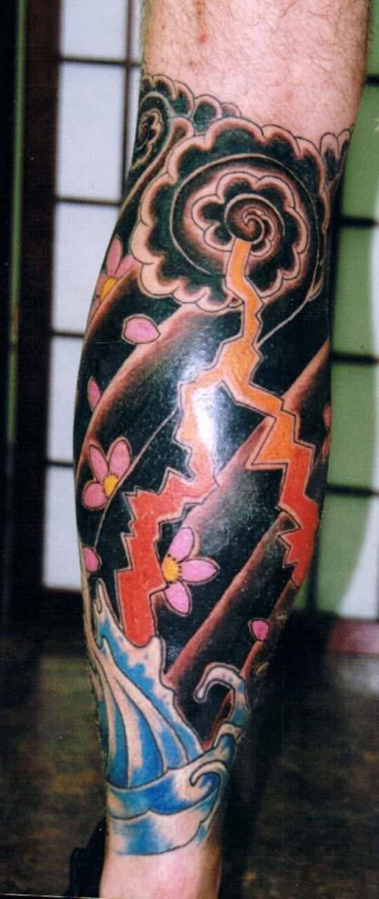 Lightning Tattoo Design On Tribal