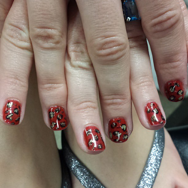 Mixed Red Leopard Nail Design