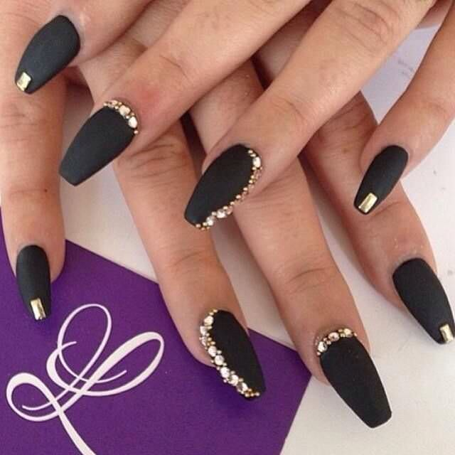 Gold With Black Nail Design