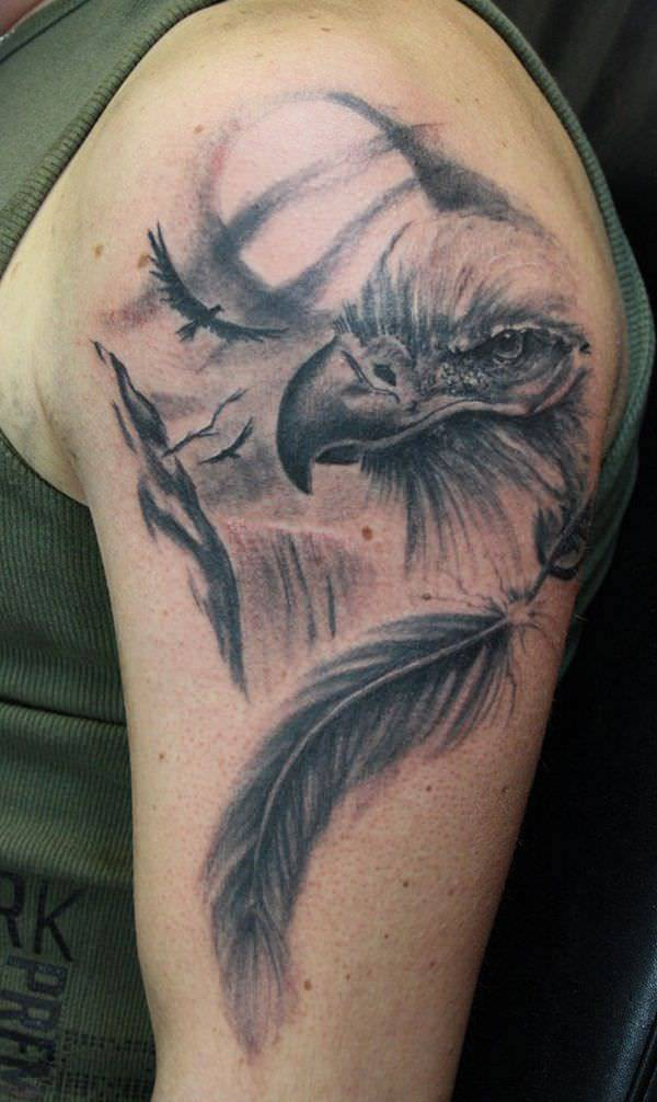 Eagle Tattoo Design On Left Hand Side