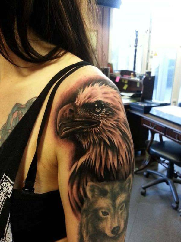 Eagle Tattoo Design On Left Hand