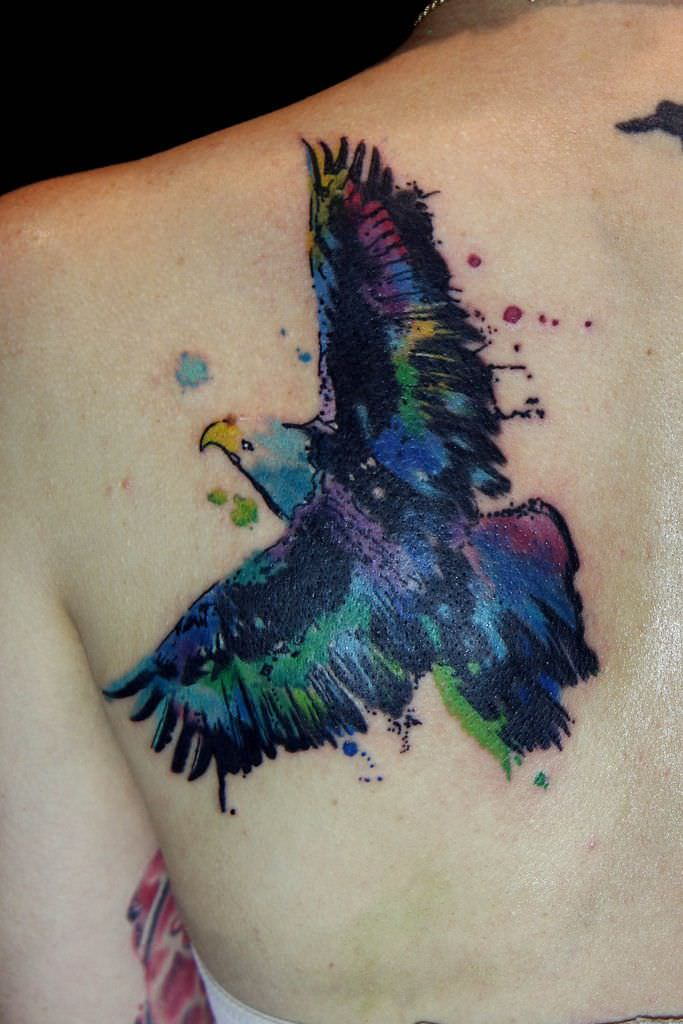 watercolor eagle tattoo design