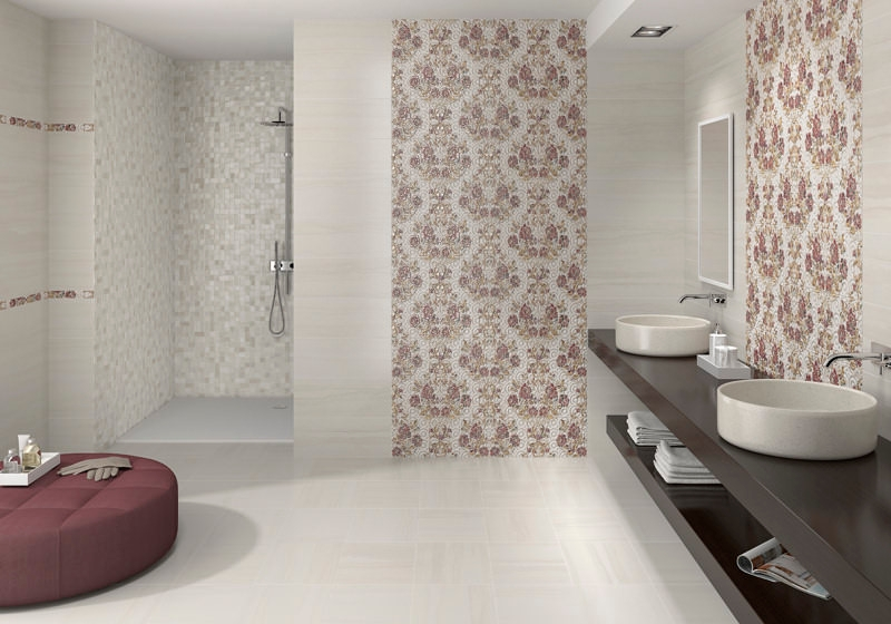 breakup white bathroom wall tile design - Bathroom Wall Tiles Design