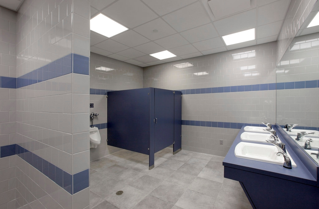 White With Blue Line Bathroom Wall Tile Design