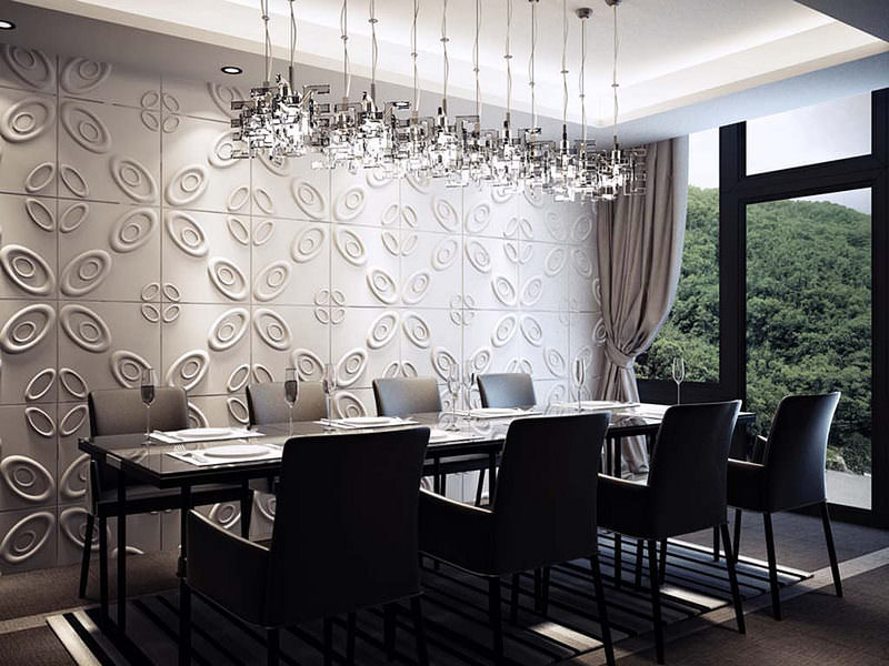 Elegants Dining Room Wallpaper Design Elegant Flowers