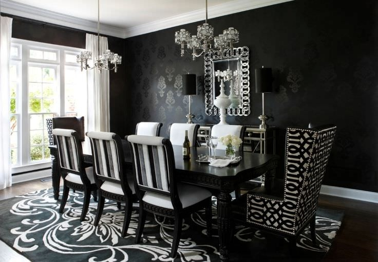 Pure Black Dining Room Wallpaper Design, windows, light.
