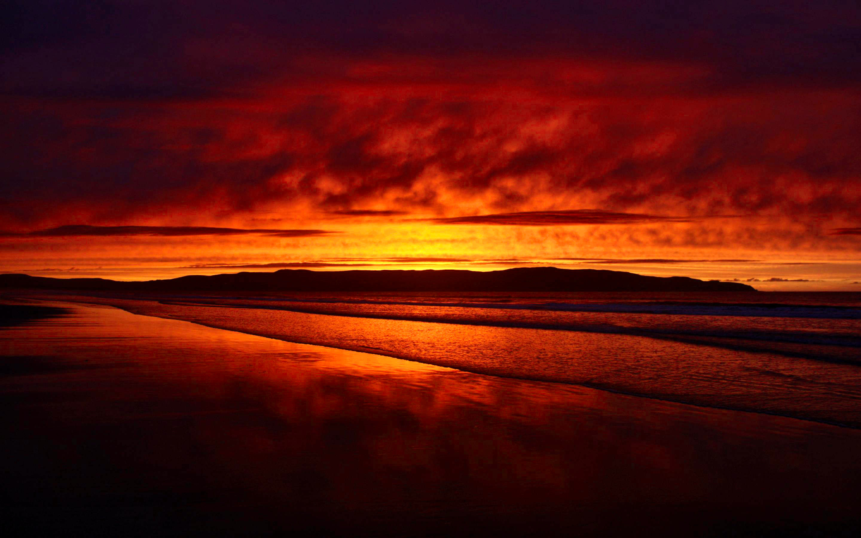 Red Beach Sunset Background