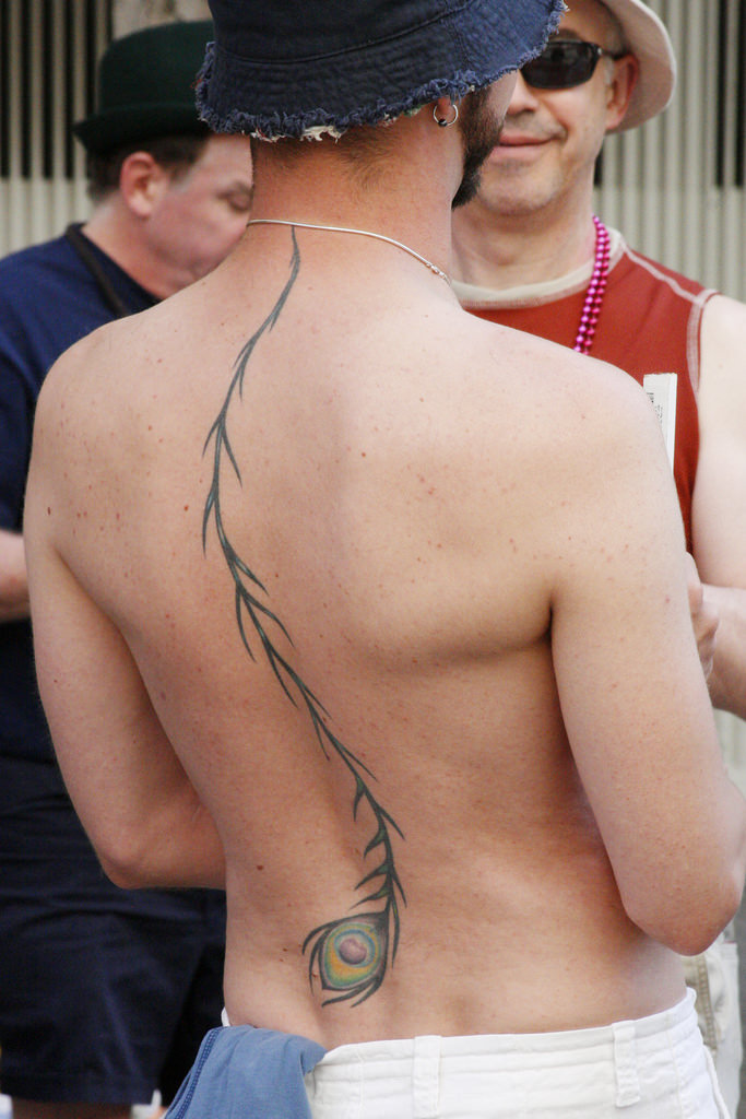 peacock feather tattoo for men