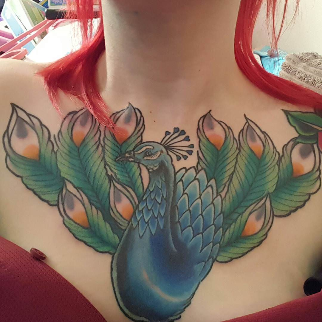 Peacock Tattoo on Chest