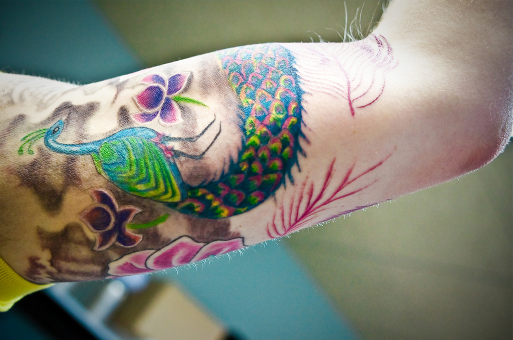 Peacock Tattoo on Sleeve