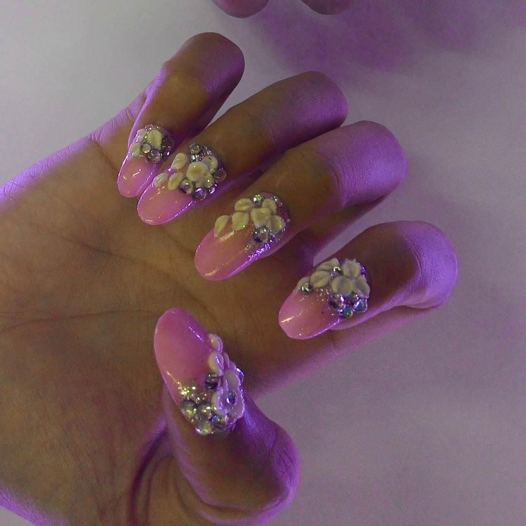 3D Bling Acrylic Nail Design