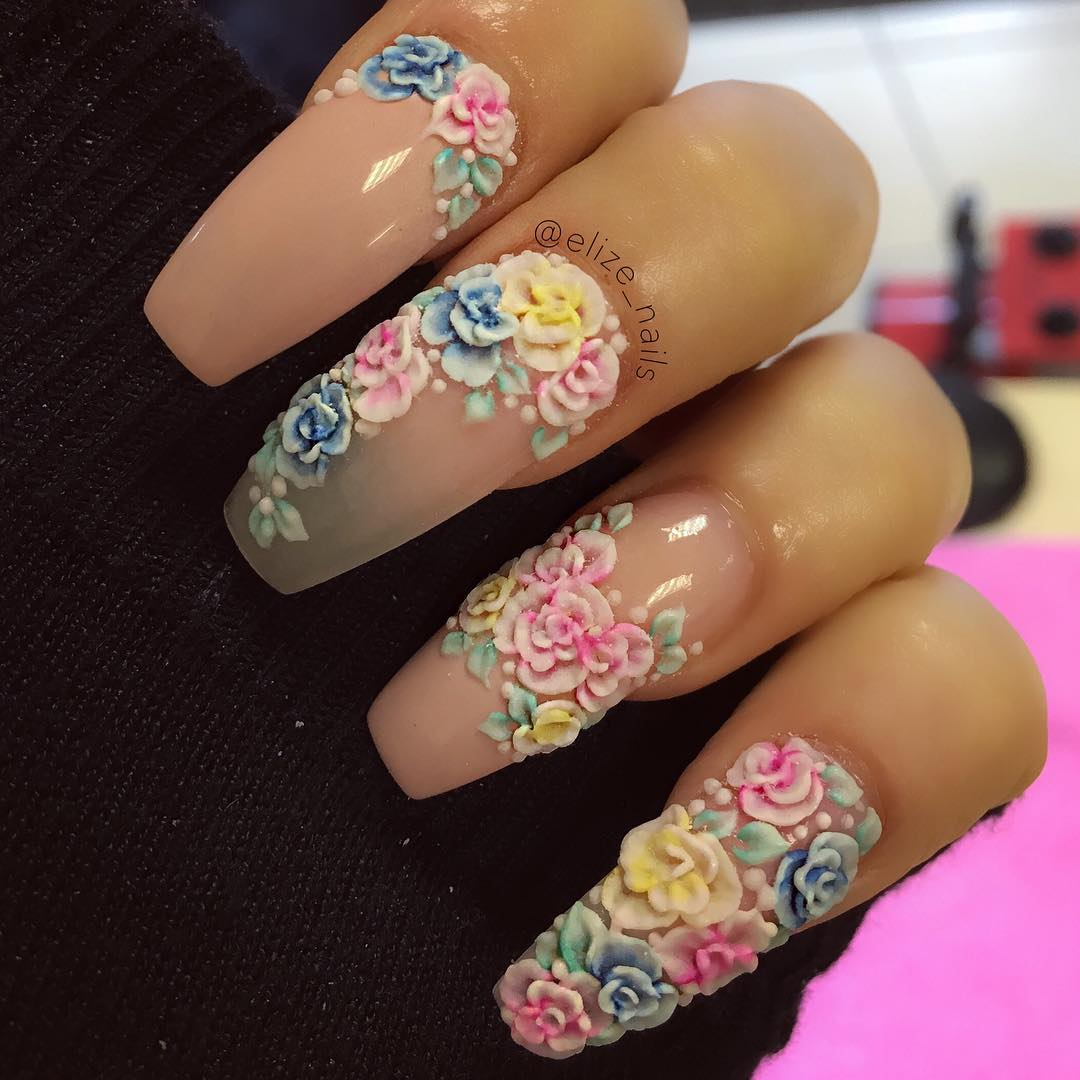 129+ Acrylic Nail Art Designs, Ideas