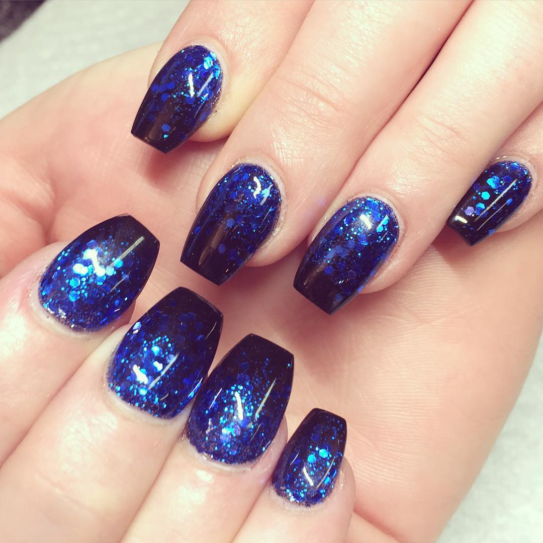 Blue Acrylic Nail Design