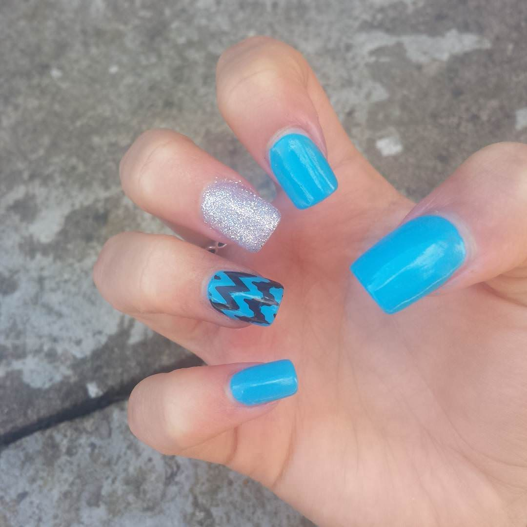 Blue Short Acrylic Nail Design