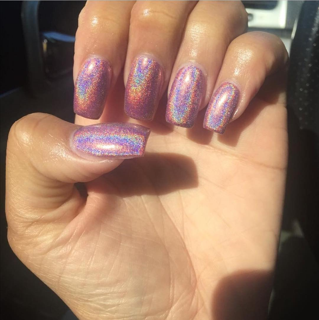 Colorful Shiny Acrylic Nail Design