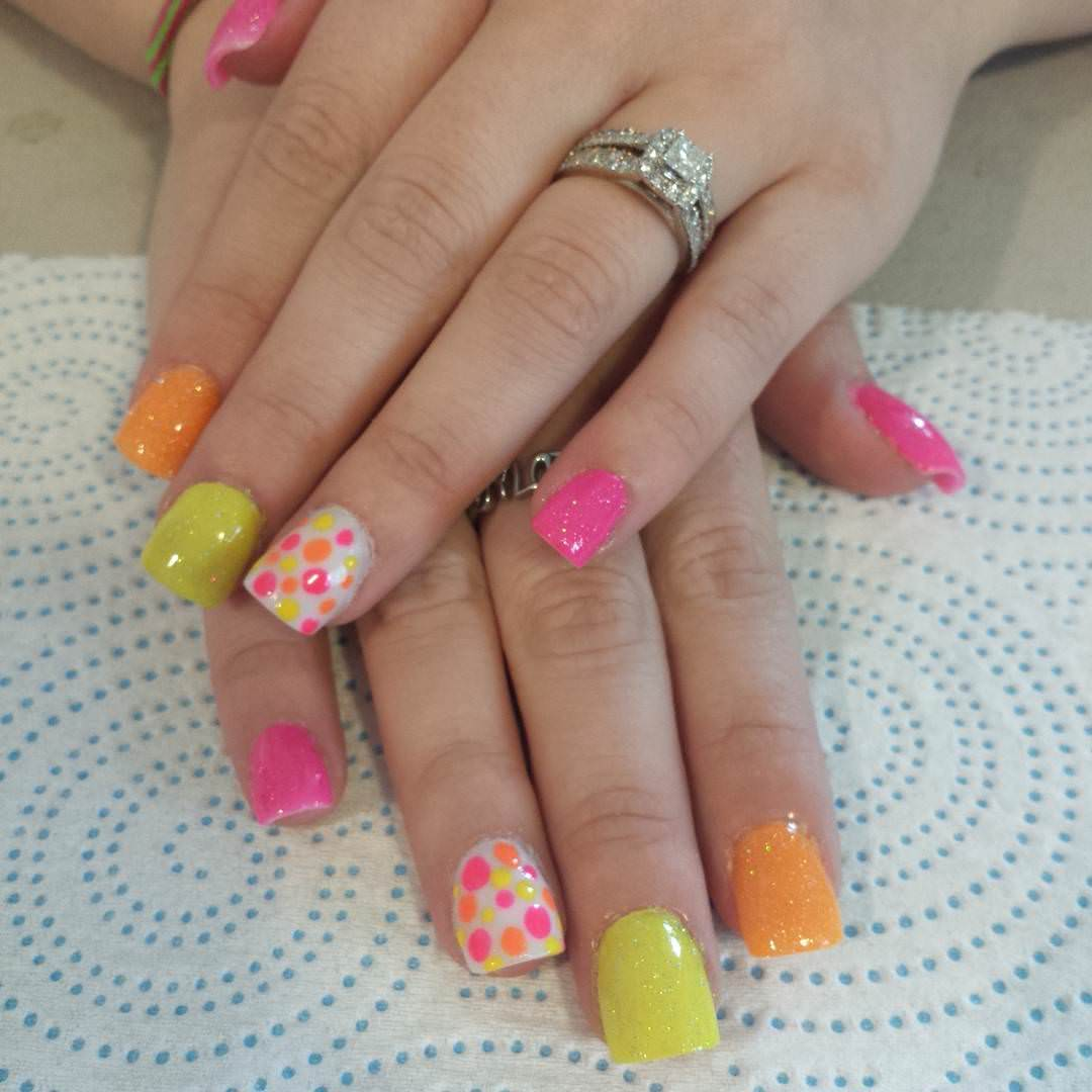 Colorful Summer Acrylic Nail Design