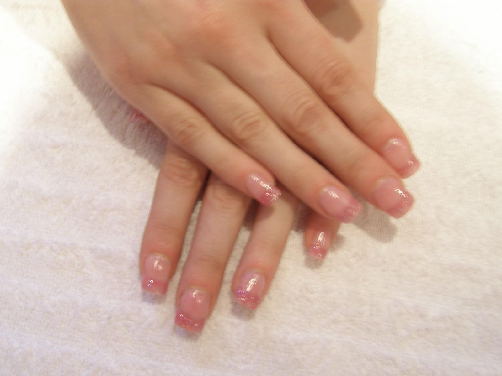Glitter Pink Acrylic Nail Designs