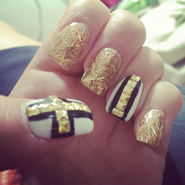 Gold and White Acrylic Nail Design