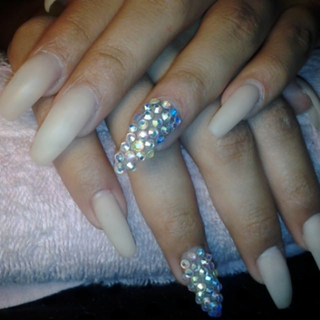 Long Bling Acrylic Nail Design