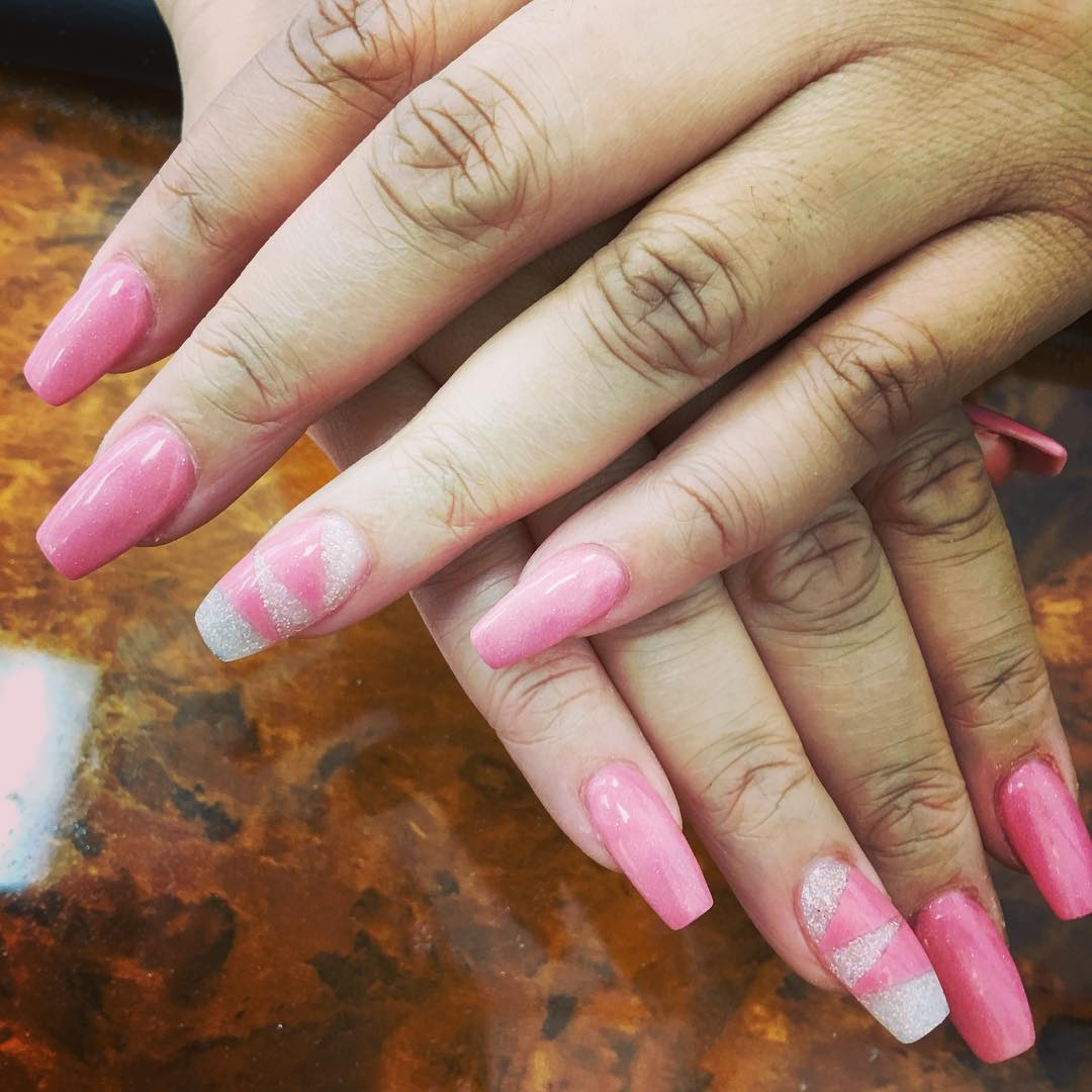 Pink Long Acrylic Nail Design