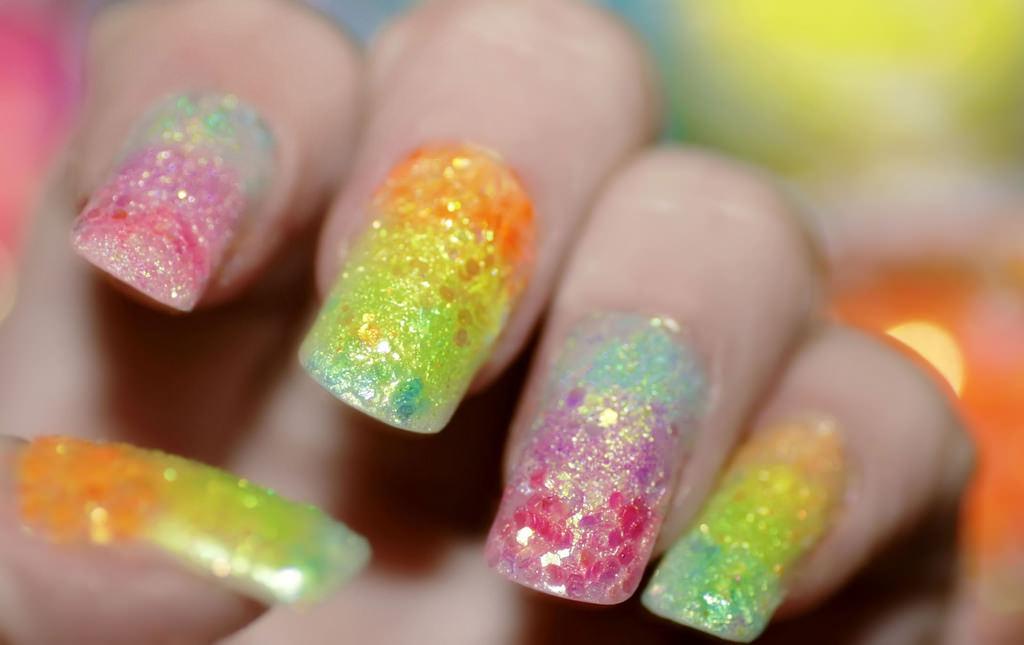 Rainbow Glitter Acrylic Nail Design